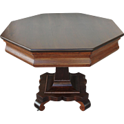 Antique Walnut Pedestal Table Octagon Top