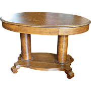 Quarter Sawn Oak Double Pedestal Oval Library Table