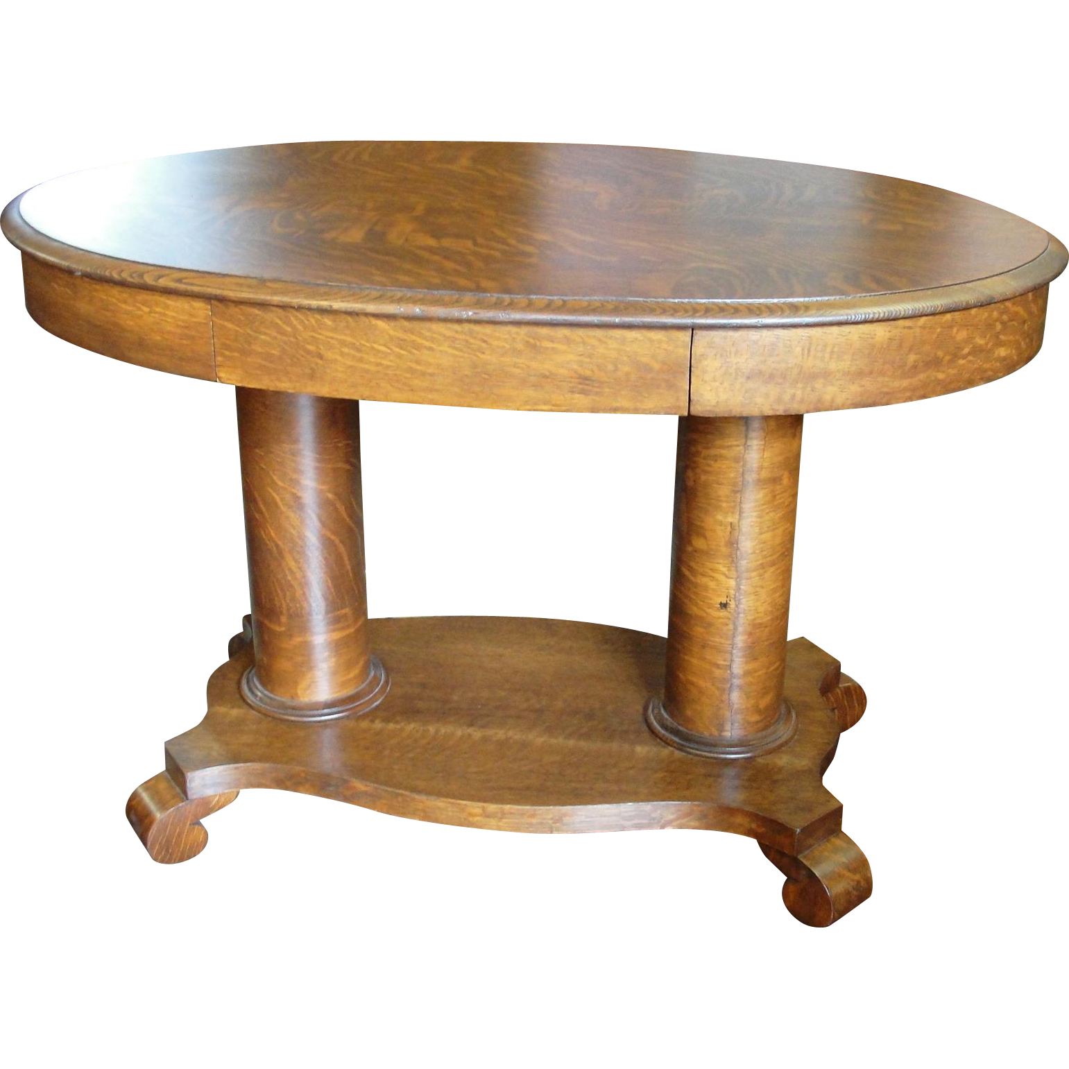 Quarter sawn oak double pedestal oval library table from for Pedestal table