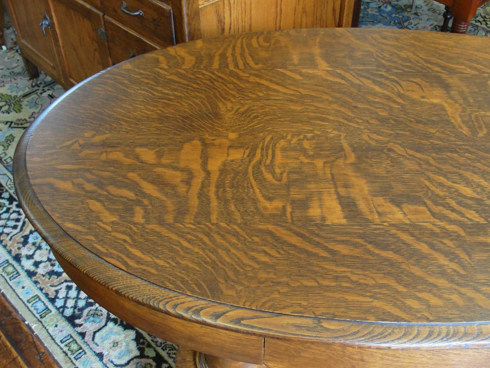Quarter Sawn Oak Double Pedestal Oval Library Table From
