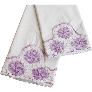 Vintage Cotton Pillowcases with Crocheted Lace Trim