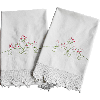 Vintage Cotton Pillowcases with Wide Crocheted Lace Trim