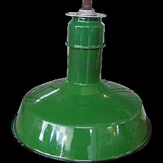 Vintage Abolite Green Porcelain Industrial Light Fixture