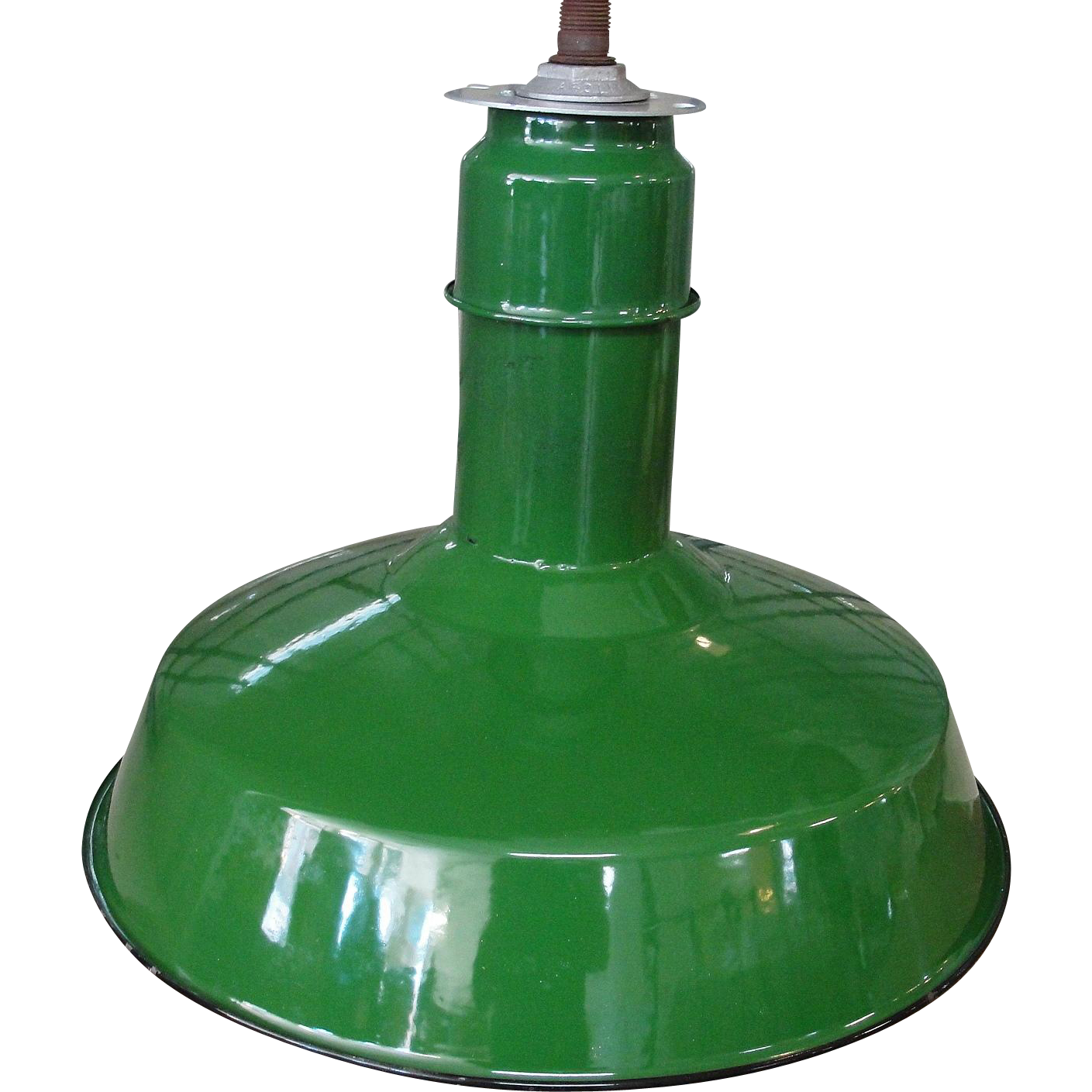 Vintage Abolite Green Porcelain Industrial Light Fixture