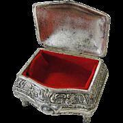 Small Silver Metal Vintage Trinket Jewelry Box Japan