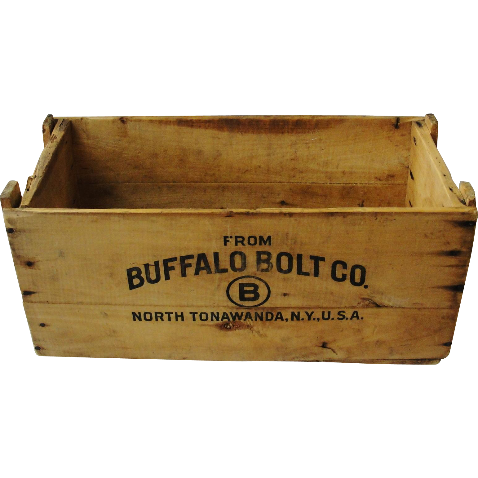 Vintage Buffalo Bolt Company Wooden Advertising Box Crate