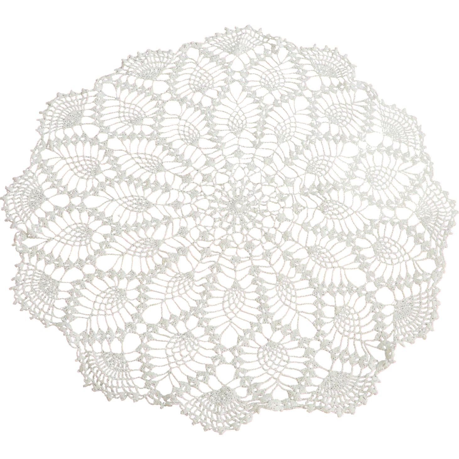 Large Vintage Round Crocheted White Doily