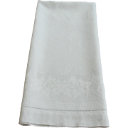 Large Antique White Linen Damask Towel