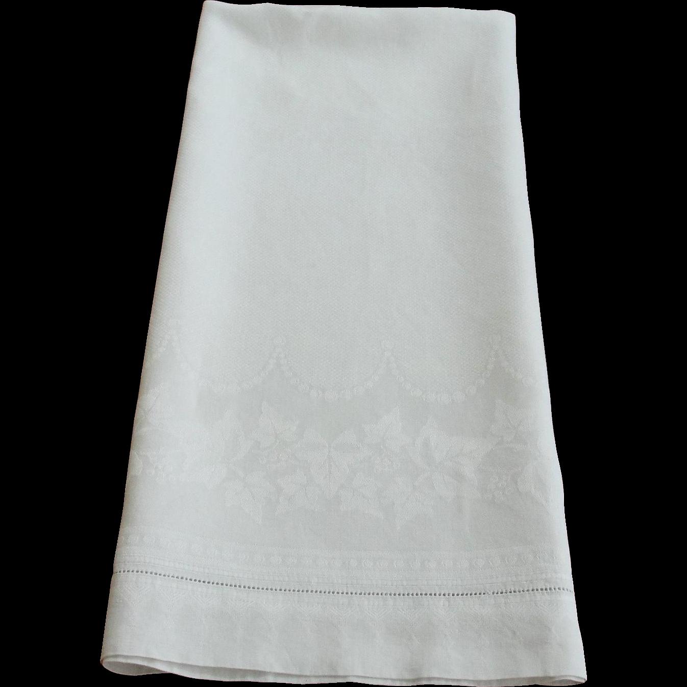 Large Antique White Linen Damask Towel
