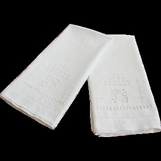 Vintage White Cotton Pillowcases with Drawn Work