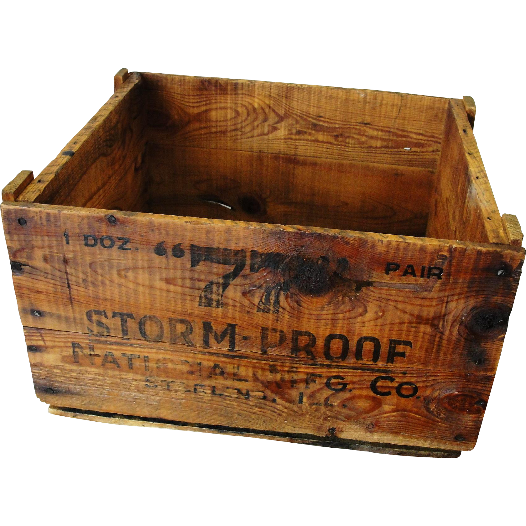 Vintage Wooden Advertising Box Storm Proof Barn Door Hangers