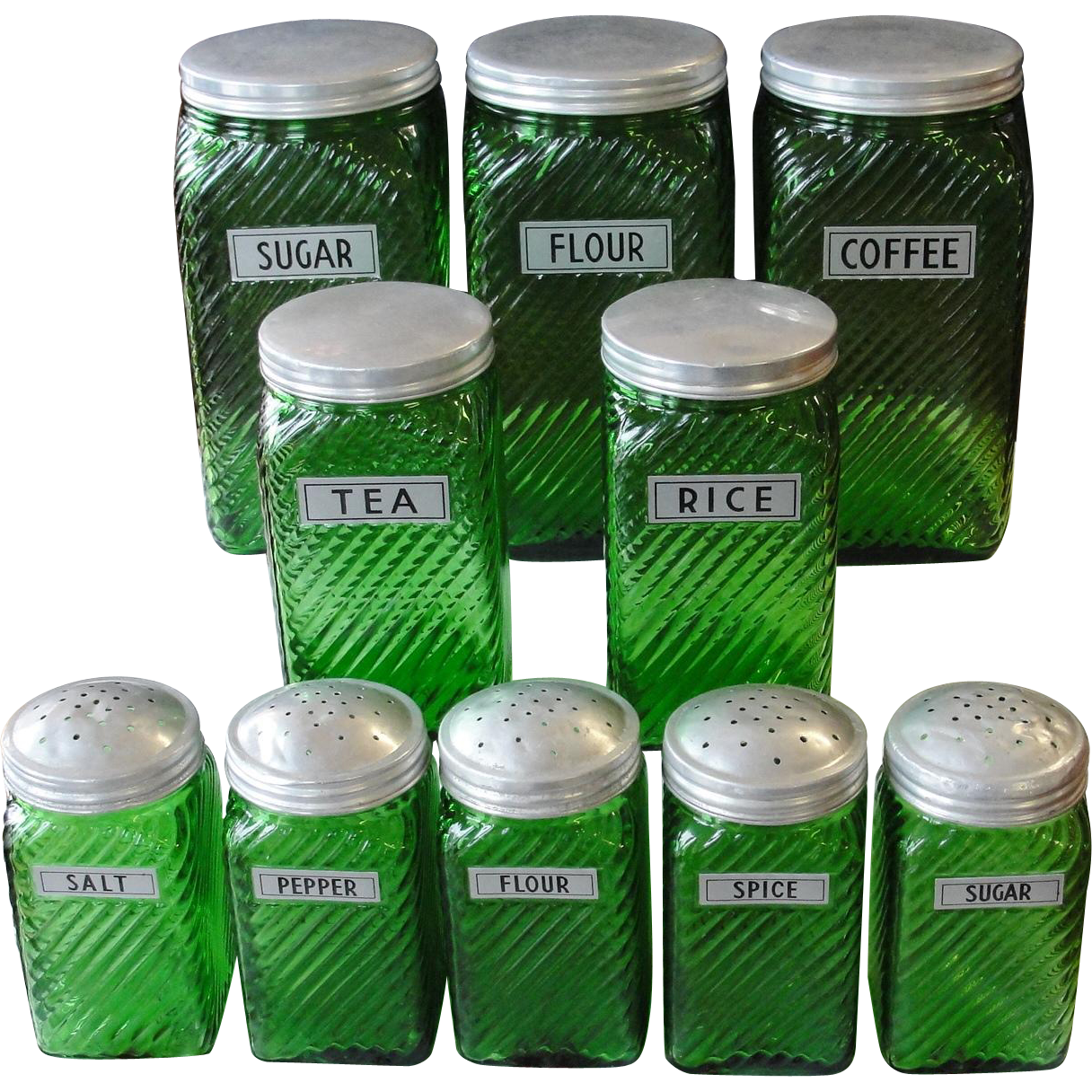 Vintage Owens Illinois Forest Green Canister Set