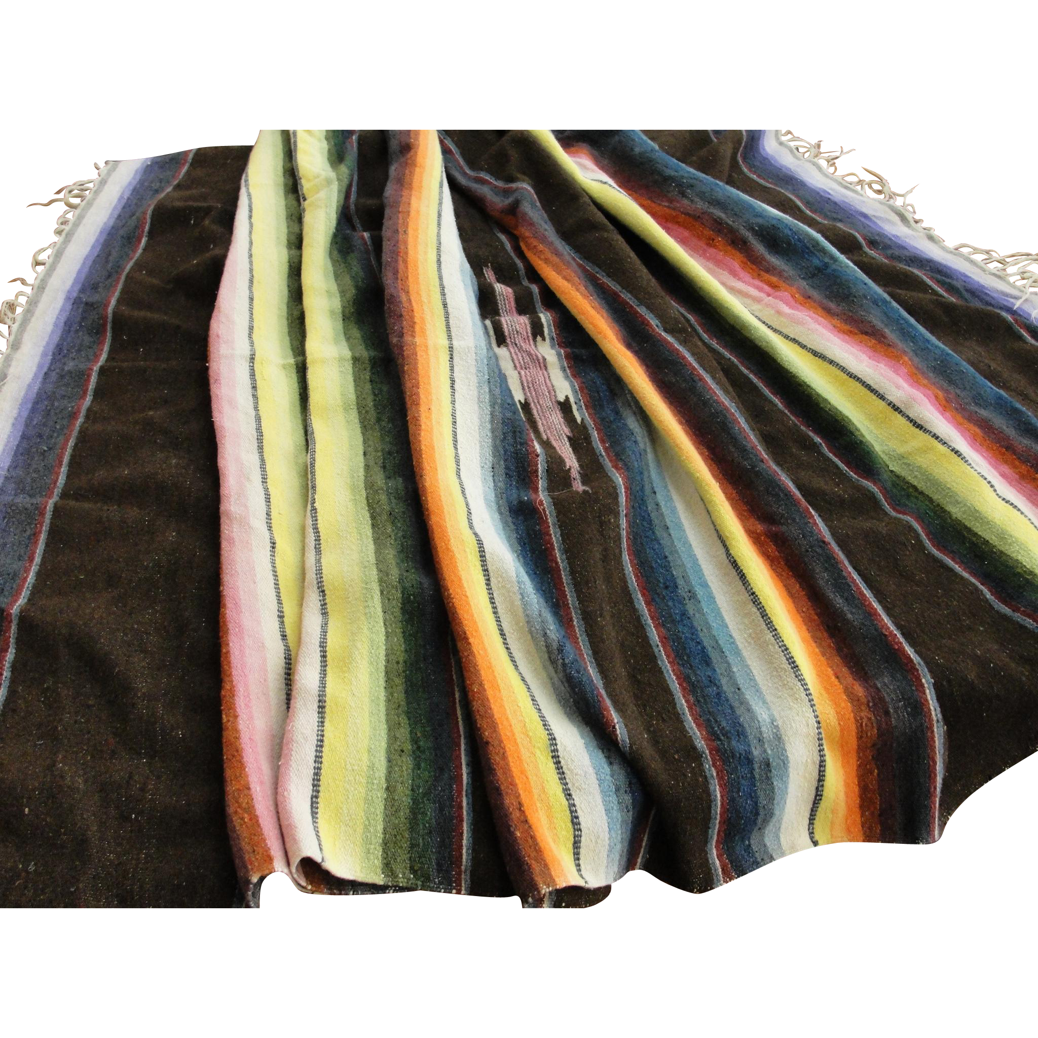 Vintage Mexican Saltillo Serape Striped Wool Blanket