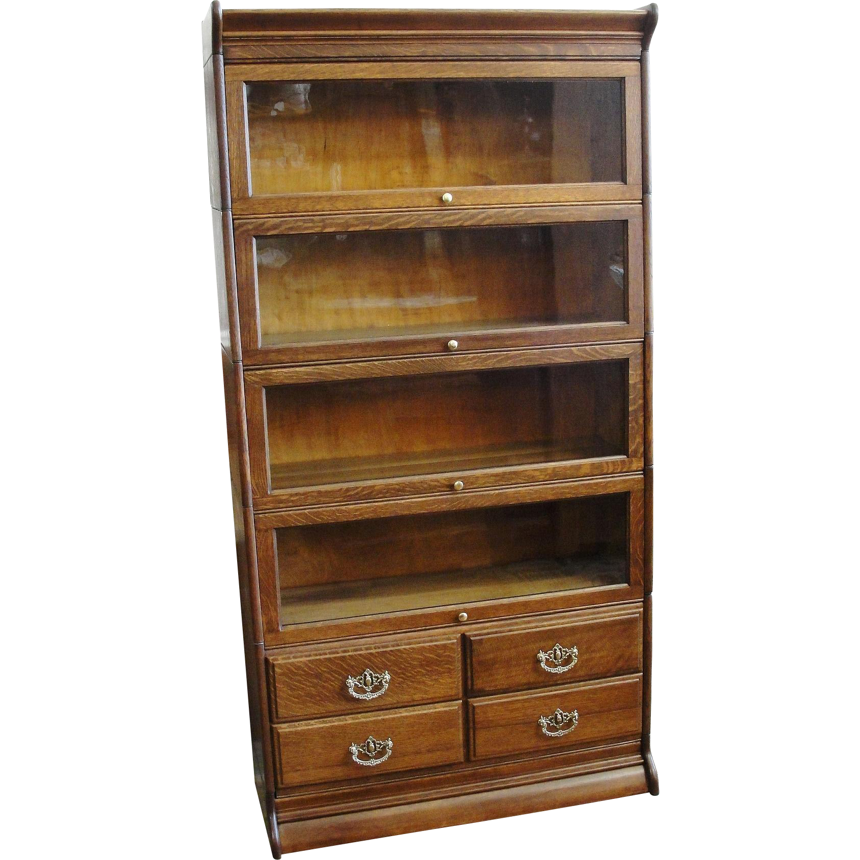 Early 1900 Gunn Quarter Sawn Oak 5 Stack Barrister Bookcase