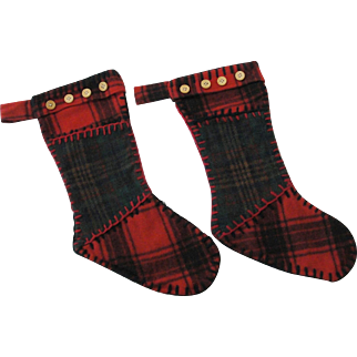 Vintage Pottery Barn Plaid Wool Christmas Stockings
