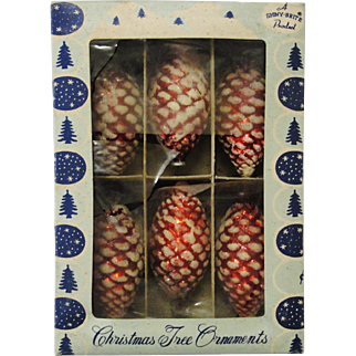 Vintage Shiny Brite Red Pinecone Christmas Ornaments