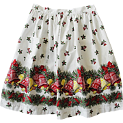 Vintage Christmas Apron Holly Bells Bows
