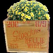 Vintage Gloeckner Nellie White Lilies Wooden Crate