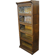Gunn Quarter Sawn Oak ¾ Size Stacking Barrister Bookcase Leaded Glass