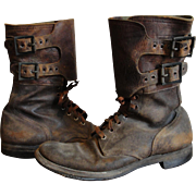 Original Pair WW 2 US Military 2 Buckle Leather Boots 9 1/2 C