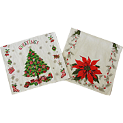 Two Vintage Linen Christmas Towels Poinsettia & Tree