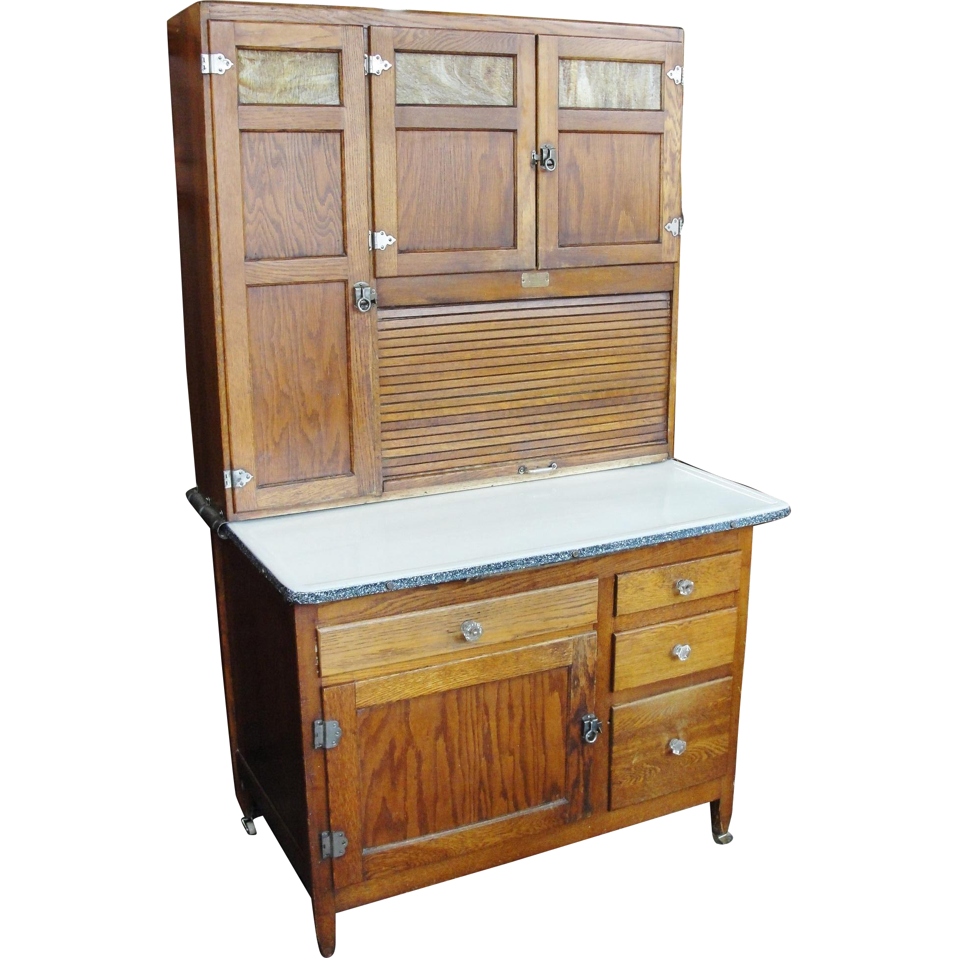 Original Finish 1920's Oak Sellers Kitchen Cabinet From