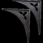 Pair of  Large Antique Cast Iron Shelf Brackets