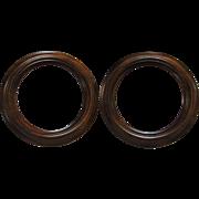 Vintage Round Walnut Picture Frames