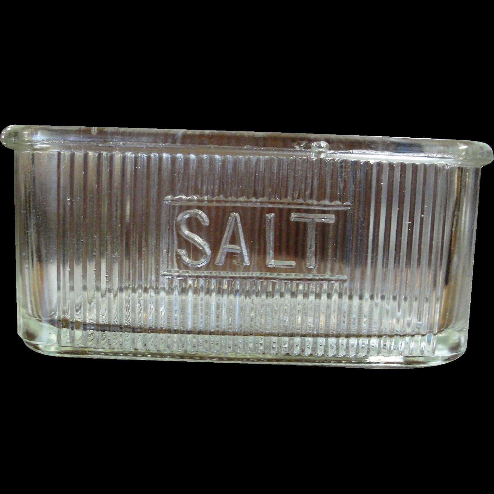 Vintage Glass Hoosier Cabinet Ribbed Salt Dish Jar from ...
