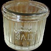 Vintage Hoosier Triple Skip Glass Salt Dip Jar