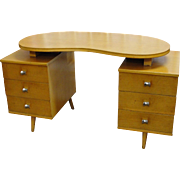 Mid Century Lee Furniture Desk Kidney Shape Top