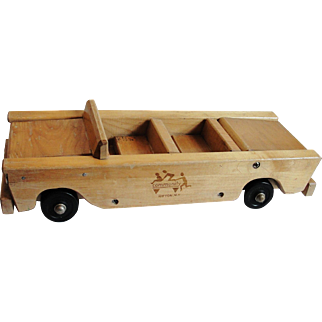 Vintage Community Playthings Wooden Convertible Car Toy