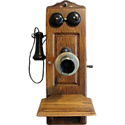 Antique Kellogg Oak Wall Telephone 1901 Patent
