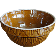 Vintage Cinnamon Brown Embossed Stoneware Mixing Bowl