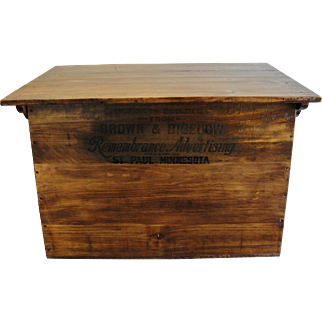 Large Vintage Wooden Advertising Box with Lid