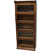 Quarter Sawn Oak Gunn Leaded Glass Barrister Bookcase ¾ Size
