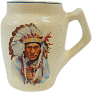 Roseville Creamware Mug Native American Indian Chief