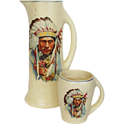 Roseville Creamware Tankard and Mug Native American Indian Chief