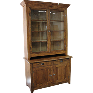 Two Piece Country Store Cabinet Cupboard 1870 – 1880