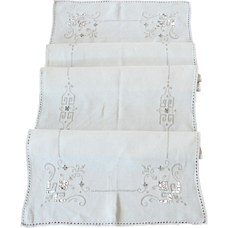 Vintage 51 Inch Long Linen Madeira Runner with Cutwork and  Embroidery