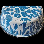 Vintage Blue and White Swirl Graniteware Pudding Pan Bowl
