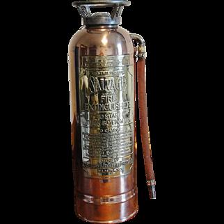 Vintage Copper Brass Salvage Fire Extinguisher