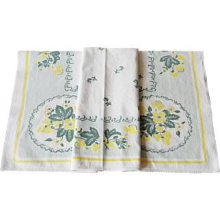 Vintage Cotton Tablecloth 36 x 32 inches Flowers Strawberries