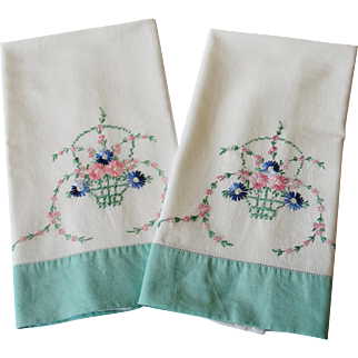 Vintage Cotton Pillowcases Basket of Flowers Embroidery