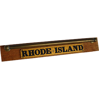 Vintage Rhode Island Wall Display with Brass Hand Rail