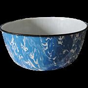 Vintage Blue White Swirl Graniteware Bowl