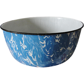 Vintage Blue White Swirl Graniteware Bowl