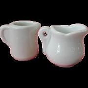Two Vintage White Porcelain Diner Creamers
