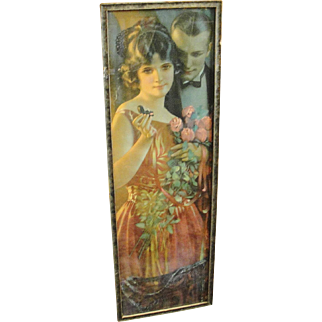 Vintage 1920's Framed Print Young Lady with Engagement Ring