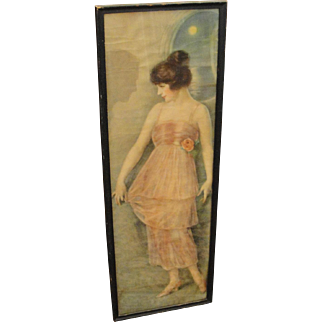 Vintage 1920's Framed Print Woman in Evening Gown